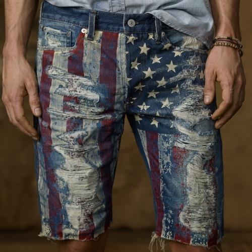 Denim & Supply Ralph Lauren Slim-Fit Flag-Print Jean Short