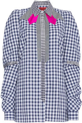 Ronald Van Der Kemp Blue gingham shirt with pink accents