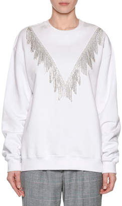 MSGM Crystal-Fringe Crewneck Pullover Sweatshirt