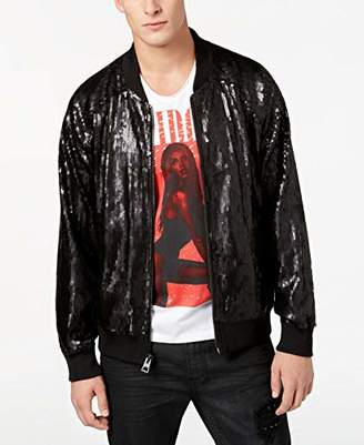 GUESS Men's Long Sleeve Bolt Sequin Bomber Jacket