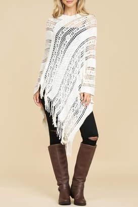 Riah Fashion Soft-Crochet Fringe Poncho