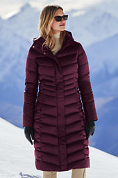 Lands' End Women's Tall Shimmer Down Long Coat-Darkest Burgundy $219 thestylecure.com