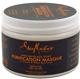 Shea Moisture Soap 12 Ounce Jar African Black Purifying Masque (354ml) (3 Pack)