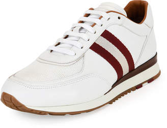 Bally Men's Leather Trainer Sneakers w/Trainspotting Stripe, White