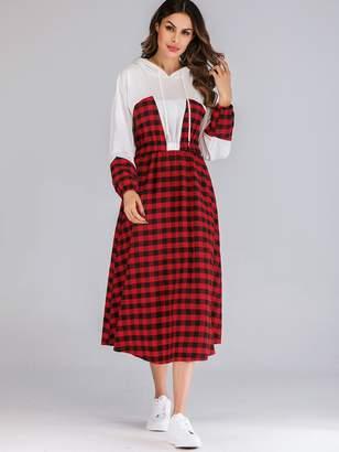 Shein Gingham Print Bishop Sleeve Drawstring Hooded Dress