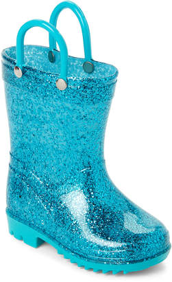 Lilly Of New York (Toddler Girls) Aqua Glitter Rain Boots