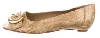 Stuart Weitzman Straw Peep-Toe Flats