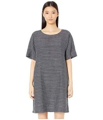 Eileen Fisher Organic Linen Delave Pinstripe Scoop Neck Tunic Dress