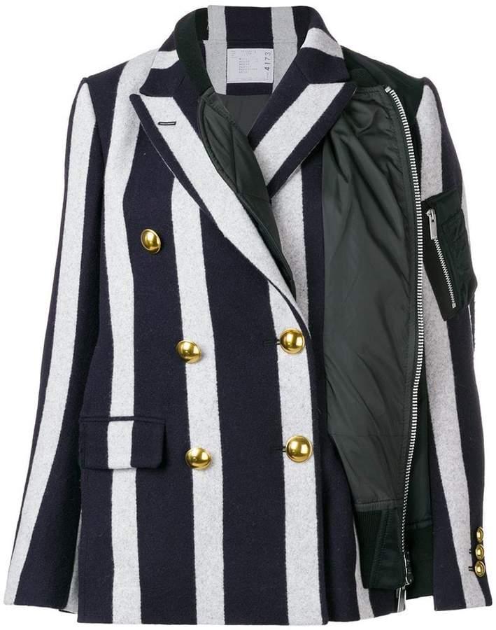 asymmetric striped blazer