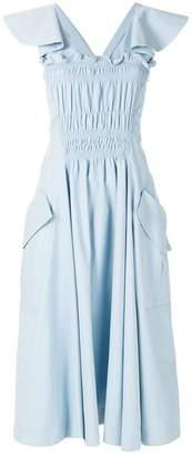 Carven front ruffle midi dress