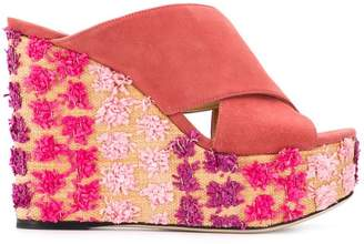 Sergio Rossi embroidered wedge sandals
