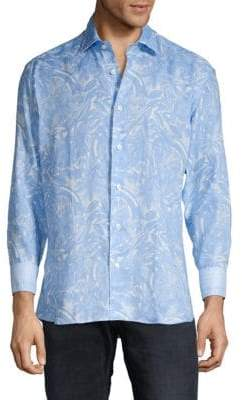 Floral Linen Button-Down Shirt