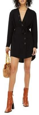 Topshop PETITE Horn Button Shirt Dress