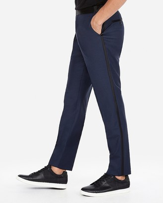 Express Slim Navy Wool-Blend Performance Stretch Tuxedo Pant