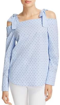 Derek Lam 10 Crosby Cold-Shoulder Dobby Weave Top