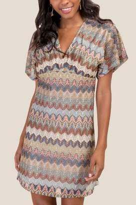 francesca's Alissa Zig Zag Striped Shift Dress - Forest