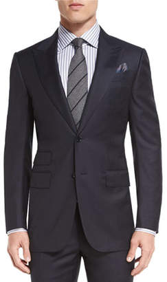 Ermenegildo Zegna Herringbone Peak-Lapel Two-Piece Suit, Navy $2,795 thestylecure.com