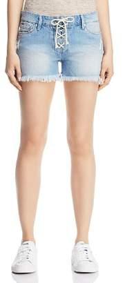 Mavi Jeans Emily Lace-Up Denim Shorts in Light Summer Lace