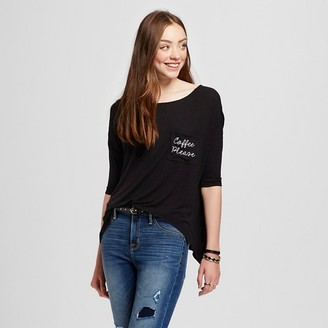 Women's Coffee Please Embroidered Pocket Tee Black - Fifth Sun (Juniors') $14.99 thestylecure.com