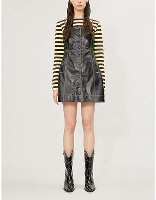 Ganni Sleeveless contrast-stitching leather mini dress
