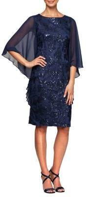 Alex Evenings Embroidered Capelet-Sleeve Shift Dress