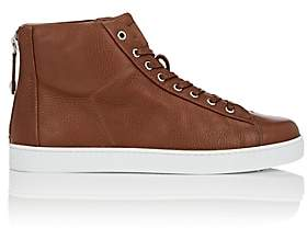 Gianvito Rossi Men's Back-Zip Leather Sneakers-Dk. brown
