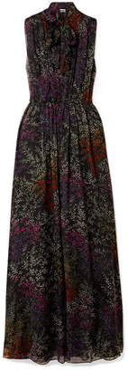 Co Pussy-bow Floral-print Silk-chiffon Maxi Dress - Black