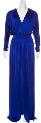 Halston Long Sleeve Maxi Dress