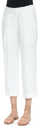 Michael Kors Collection Mid-Rise Slouchy Capri Pants, Optic White $695 thestylecure.com