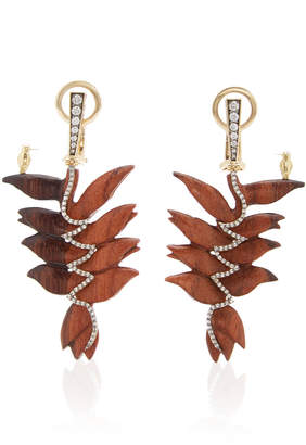 Silvia Furmanovich Sculptural Botanical Marquetry Small Bird Earrings