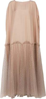 Bthaina Gathered Glitter Tulle And Georgette Caftan
