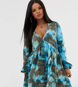 Rokoko Plus long sleeved smock dress in tie dye