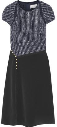3.1 Phillip Lim - Bouclé And Silk Crepe De Chine Dress - Midnight blue $725 thestylecure.com
