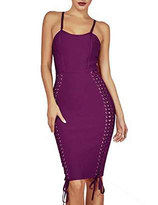 Women's Spaghetti Straps Sleeveless Lace Up Midi Bodycon Party Bandage Dress S