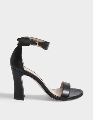 Stuart Weitzman Lotto Sandals with Ankle Strap in Black Nappa Leather