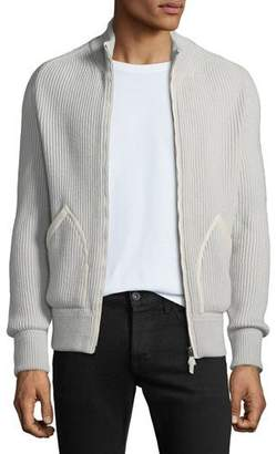 Tom Ford Men's Ribbed Cashmere Zip-Front Fisherman Cardigan Sweater