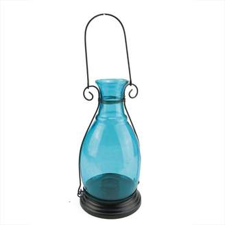 "Northlight 10.5"" Transparent Blue Decorative Glass Bottle Vase Tea Light Candle Lantern"