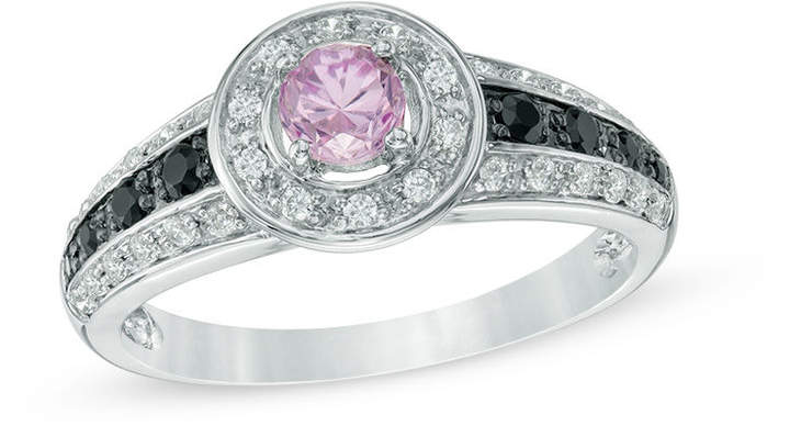 Zales 4.0mm Lab-Created Pink Sapphire, Black Spinel and 1/5 CT. T.W. Diamond Frame Ring in 10K White Gold