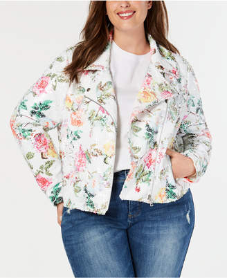 a7c1d1f5d1f INC International Concepts I.n.c. Plus Size Floral-Print Sequin Moto Jacket
