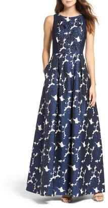 Women's Adrianna Papell Embellished Jacquard & Jersey Ballgown $299 thestylecure.com
