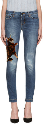 Dolce & Gabbana Blue Bengal Kitten Jeans $1,395 thestylecure.com