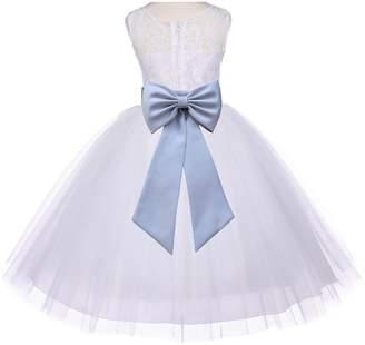 ekidsbridal Ivory Floral Lace Bodice Tulle Flower Girl Dress Junior Bridesmaid Dress 153T