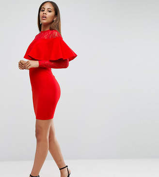 Asos Tall Ruffle Front Lace Mix Bodycon Mini Dress