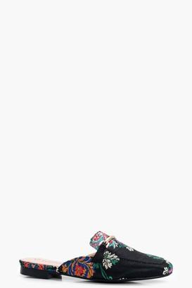 boohoo Oriental Print Mule Loafers