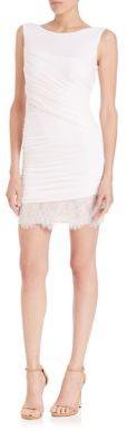 BCBGMAXAZRIA Clio Ruched Jersey & Lace Dress $268 thestylecure.com