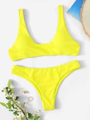 Shein Neon Yellow Scoop Neck Top With Cheeky Bikini