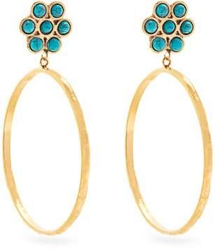Sylvia Toledano - Flower Gold Plated Clip On Hoop Earrings - Womens - Blue