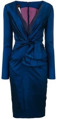 Talbot Runhof v-neck ruched dress