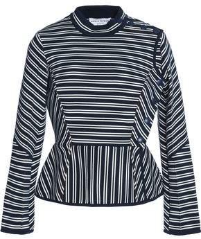 Sonia Rykiel Striped Cotton-Blend Ponte Peplum Top