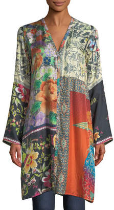 Johnny Was Plus Size Peadover Long Button-Front Silk Cardigan
